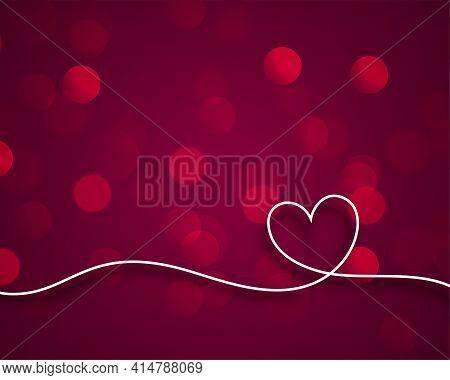 Stylish Line Valentines Heart On Bokeh Background