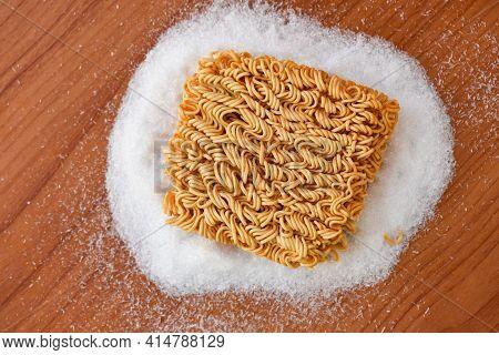 Instant Noodles On Seasonings Monosodium Glutamate, Noodle Thai Junk Food Or Fast Food Diet Unhealth