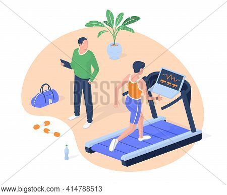 Fitness Class Cardio Machine Realistic Isometry. Female Character On Treadmill Increases Walking Pac