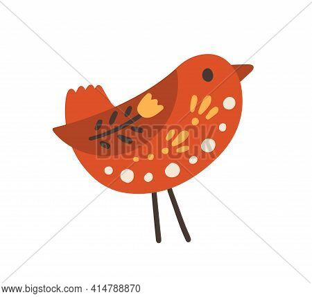 Swedish Red Wooden Bird With Floral Ornament. Scandinavian Wood Figurine With Pattern. Nordic Souven