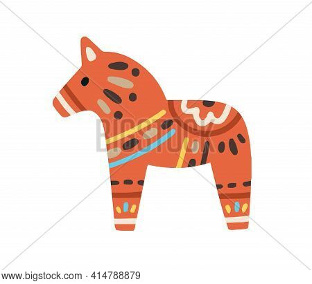 Swedish Red Horse Or Dalahorse With Ornament. Scandinavian Dala Figurine With Pattern. Nordic Souven