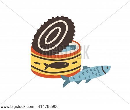 Swedish Surstromming In Opened Can. Smelly Baltic Herring. Colored Flat Vector Illustration Of Swede