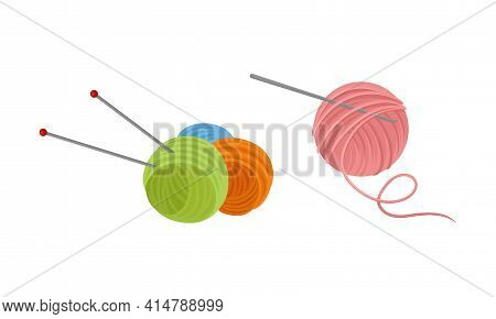 Yarn Ball Or Skein Of Wool With Knitting Needles Vector Set