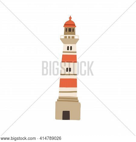 Lighthouse Tower For Ship Guidance And Navigation. Nautical Light House For Sea Transport. Port Buil