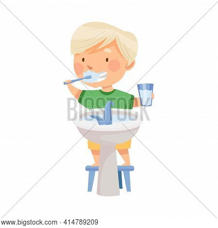 Cute Blond Boy Brushing His Teeth Standing On Stool Near Wash Stand Vector Illustration