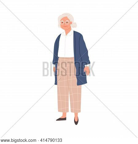Happy Aged Gray-haired Woman In Eyewear And Stylish Casual Clothes. Smiling Senior Granny In Modern