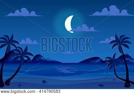 Moonlight Night At Seashore Landscape Background In Flat Cartoon Style. Moon In Sky Above Sea Beach