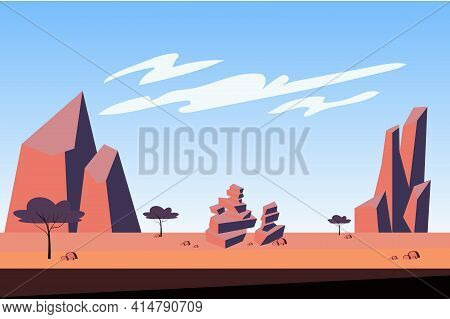 Mountains At Desert Landscape Background In Flat Cartoon Style. Trees, Dry Grass, Sparse Vegetation,