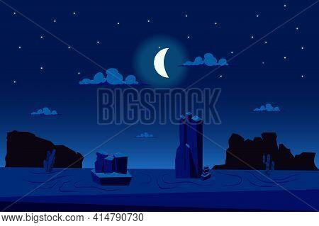 Moonlight Night At Desert Landscape Background In Flat Cartoon Style. Cactus, Sparse Vegetation, Mou