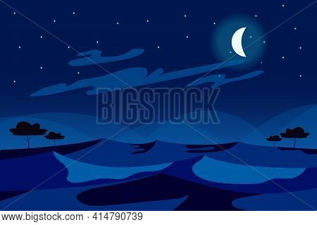 Moon In Sky At Desert Night Landscape Background In Flat Cartoon Style. Sand Dunes, Trees, Sparse Ve