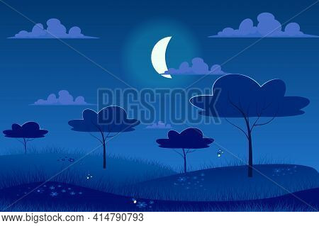 Moonlight Night At Spring Meadow Landscape Background In Flat Cartoon Style. Moon In Sky, Garden Tre