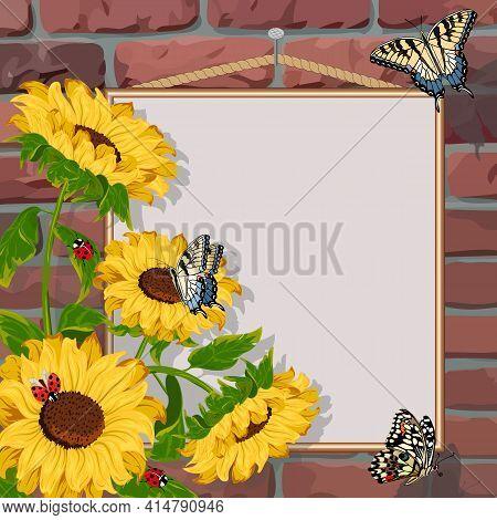 Sunflowers On A Brick Wall Background.sunflowers, Butterflies And Frame On A Brick Wall Background I
