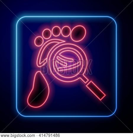 Glowing Neon Magnifying Glass With Footsteps Icon Isolated On Black Background. Detective Is Investi