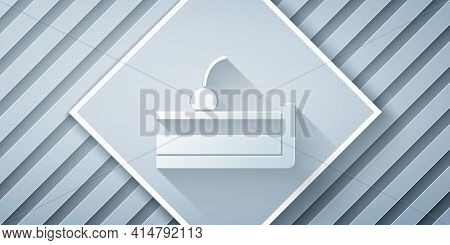 Paper Cut Cherry Cheesecake Slice With Fruit Topping Icon Isolated On Grey Background. Paper Art Sty