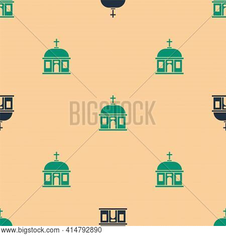 Green And Black Santorini Building Icon Isolated Seamless Pattern On Beige Background. Traditional G