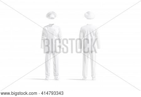 Blank White Chef Uniform Mockup, Front And Back View, 3d Rendering. Empty Kitchener Workwear For Cul