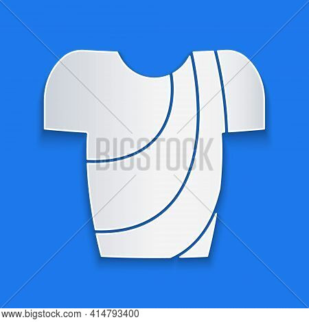 Paper Cut Cycling T-shirt Icon Isolated On Blue Background. Cycling Jersey. Bicycle Apparel. Paper A