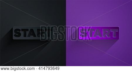 Paper Cut Ribbon In Finishing Line Icon Isolated On Black On Purple Background. Symbol Of Finish Lin