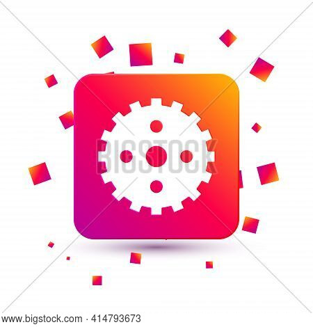 White Bicycle Sprocket Crank Icon Isolated On White Background. Square Color Button. Vector