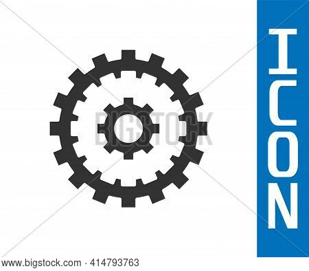 Grey Bicycle Cassette Mountain Bike Icon Isolated On White Background. Rear Bicycle Sprocket. Chainr