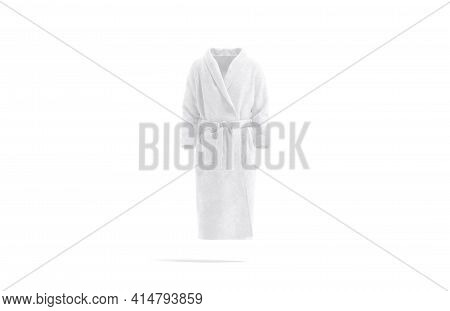 Blank White Hotel Bathrobe Mockup, Front View, 3d Rendering. Empty Fleece Soft Robe For Salon Or Res