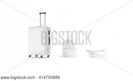 Blank White Travel Bags Mockup Set, Side View, 3d Rendering. Empty Luggage Pack For Tourism Or Journ