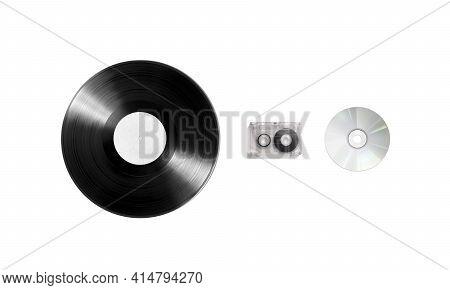 Blank Vinyl, Cassette And Cd Disk Mockup Set, Isolated, 3d Rendering. Empty Retro Music Plate Mock U