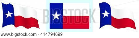 Flag Of American State Of Texas In Static Position And In Motion, Fluttering In Wind In Exact Colors