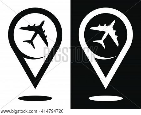 Checkpoint, Civil Aircraft Icon. Airplane Symbol For Website. Vector In Flat Style
