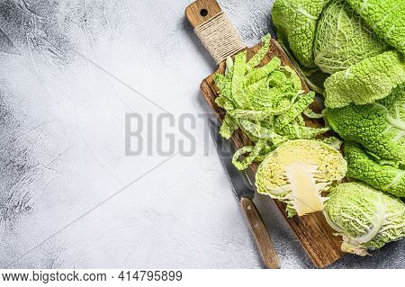 Sliced Savoy Cabbage From Organic Grower Farm. White Background. Top View. Copy Space