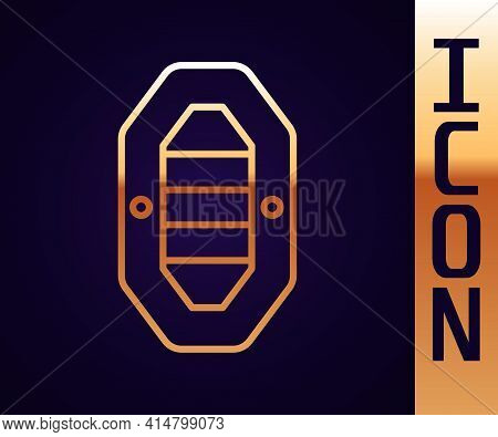 Gold Line Rafting Boat Icon Isolated On Black Background. Inflatable Boat With Paddles. Water Sports