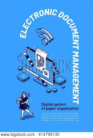 Electronic Documents Management Isometric Web Banner, Online Paperwork Organization And Storage Conc