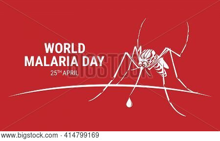 World Malaria Day With White Mosquitoes Drinking Drop Blood Sign On Red Background Vector Design