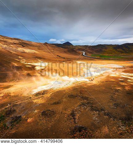 Aerial View Of Hverir Geothermal Area Near Lake Myvatn In Iceland