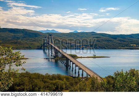 Tjeldsund Bridge In Norway Crossing The Mainland And The Island Of Hinnoya