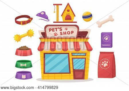 Pet Items Set. Pets Food, Bowls, Toys Shop Vector Illustration