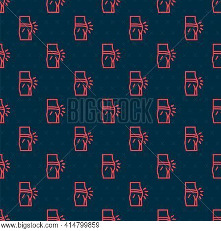 Red Line Abdominal Bloating Icon Isolated Seamless Pattern On Black Background. Constipation Or Diar