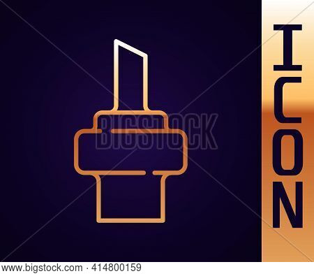 Gold Line Wooden Cork For Wine Icon Isolated On Black Background. Vector