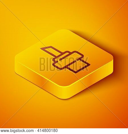 Isometric Line Wooden Cork For Wine Icon Isolated On Orange Background. Yellow Square Button. Vector