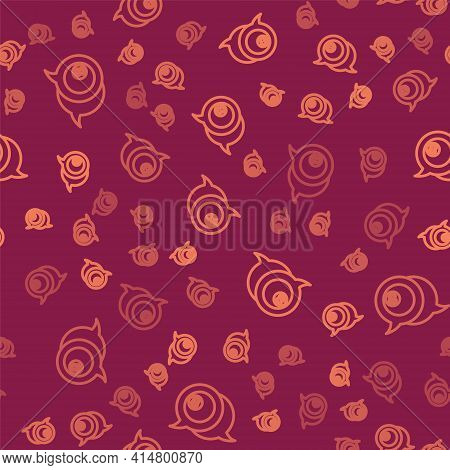 Brown Line Billiard Pool Snooker Ball With Number 8 Icon Isolated Seamless Pattern On Red Background