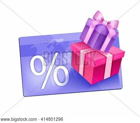 Customer Loyalty Gift Program Vector Illustration, Vip Reward Bonus Card Concept, Gift Box Isolated