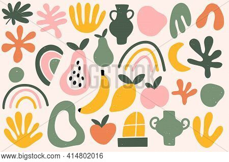 Matisse Abstract Organic Shapes Seamless Pattern. Contemporary Hand Drawn Vector Illustration.