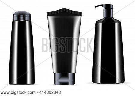 Black Cosmetic Bottle Mockup. Cosmetic Product Packaging, Pump Tube, Shampoo Bottle, Luxury Men Cosm
