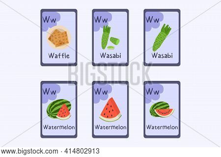 Colorful Alphabet Flashcard Letter W - Waffle, Wasabi, Watermelon.