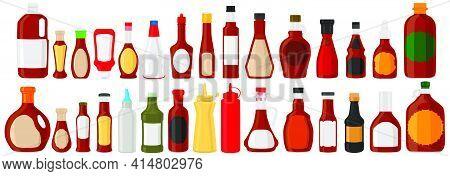 Illustration On Theme Big Kit Varied Glass Bottles Filled Liquid Sauce Ketchup. Bottles Consisting F