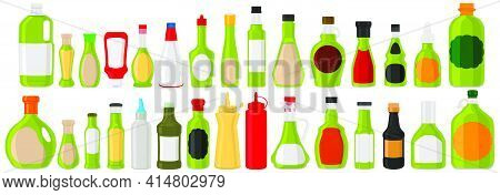 Illustration On Theme Big Kit Varied Glass Bottles Filled Thick Sauce Wasabi. Bottles Consisting Fro