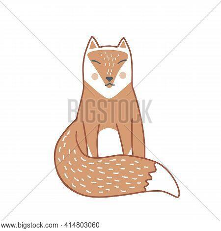 Wild Sleeping Fox Hand Drawn In Scandinavian Style. Vector Illustration Isolated On White. Swedish A