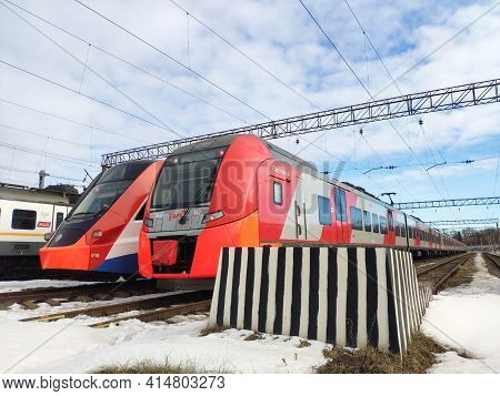Moscow, Russia - 24 March 2021: Electric Trains In The Depot Parking Lot. Trains On The Railway In W