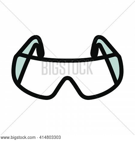 Icon Of Chemistry Protective Eyewear. Editable Bold Outline With Color Fill Design. Vector Illustrat