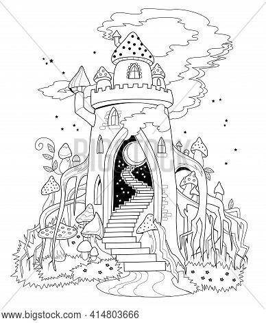 Black And White Page For Coloring Book. Illustration Of Fairyland Kingdom In Forest. Printable Templ